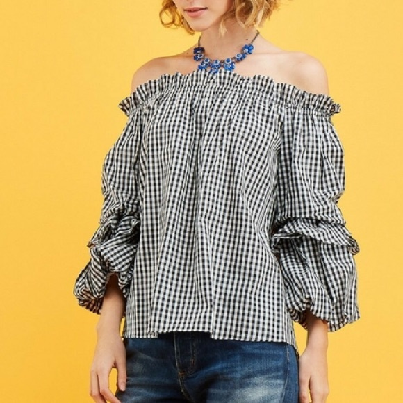 3c2f4d8a66a Entro Off the Shoulder Gingham Ruffle Sleeve Top